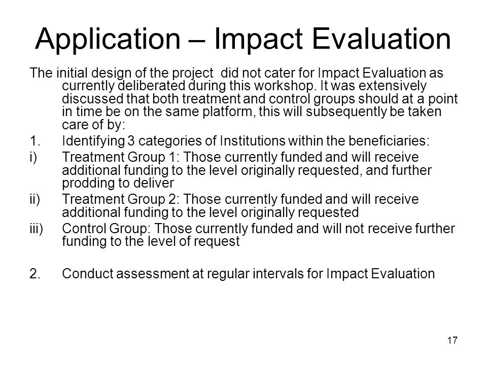 Application – Impact Evaluation
