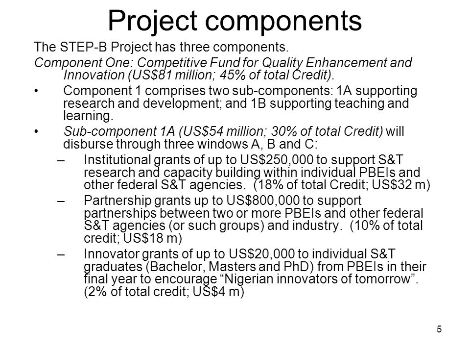 Project components The STEP-B Project has three components.