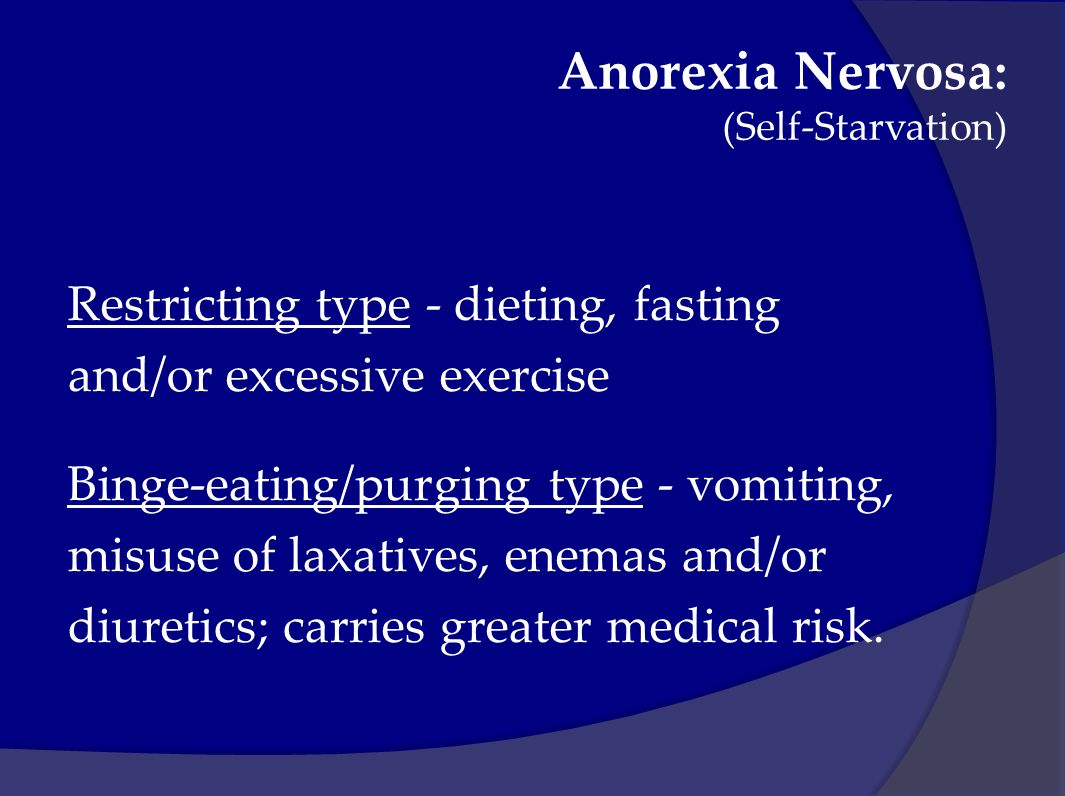 an understanding of the self starvation syndrome anorexia The relationship between obsessive-compulsive personality disorder traits, obsessive-compulsive disorder and excessive exercise in patients with anorexia nervosa: a.