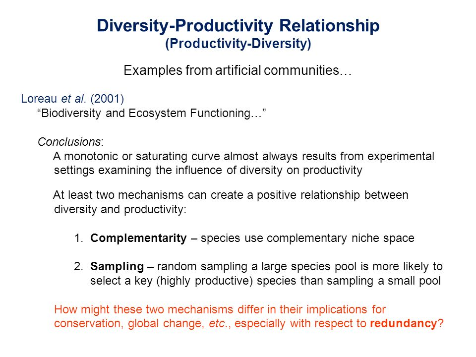 positive relationship between species richness and productivity