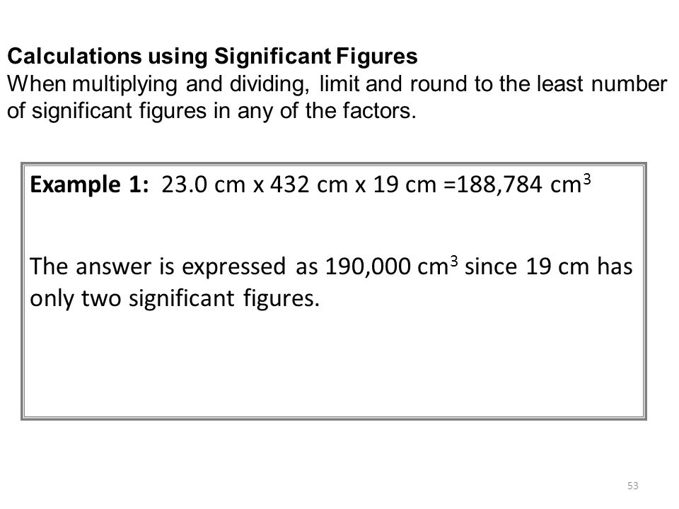Calculations using Significant Figures