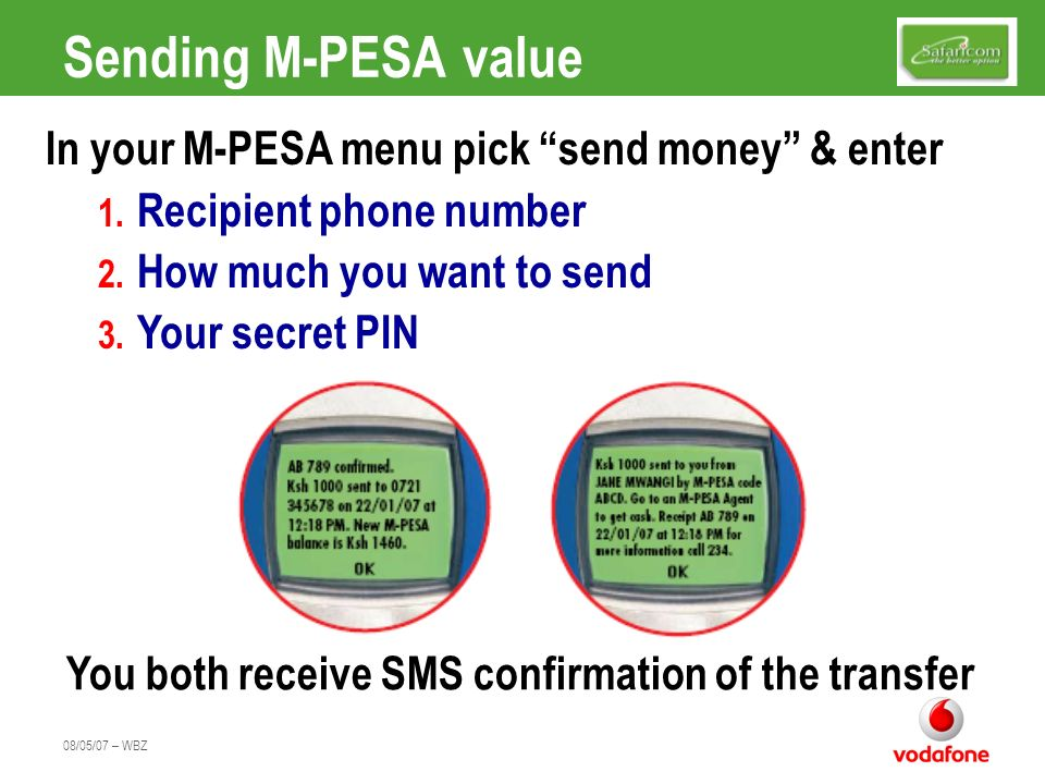 Sending M-PESA value In your M-PESA menu pick send money & enter