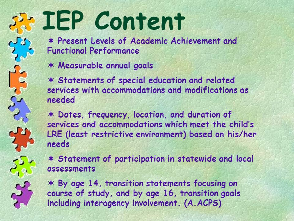 IEP Content  Present Levels of Academic Achievement and Functional Performance.  Measurable annual goals.