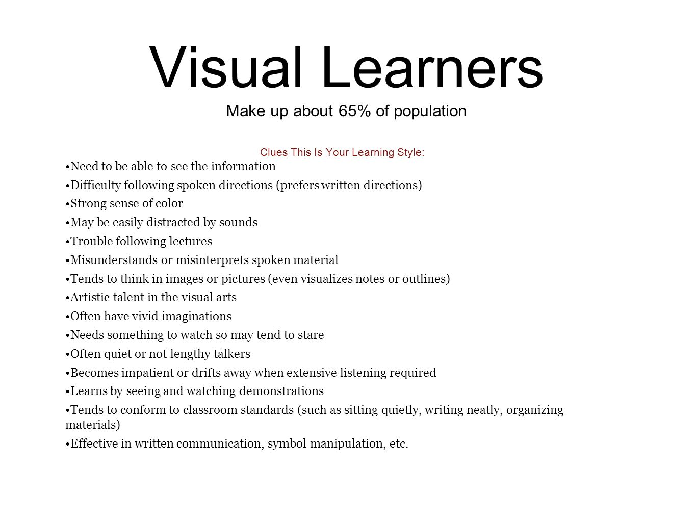 three types of learning styles ppt video online  3 visual