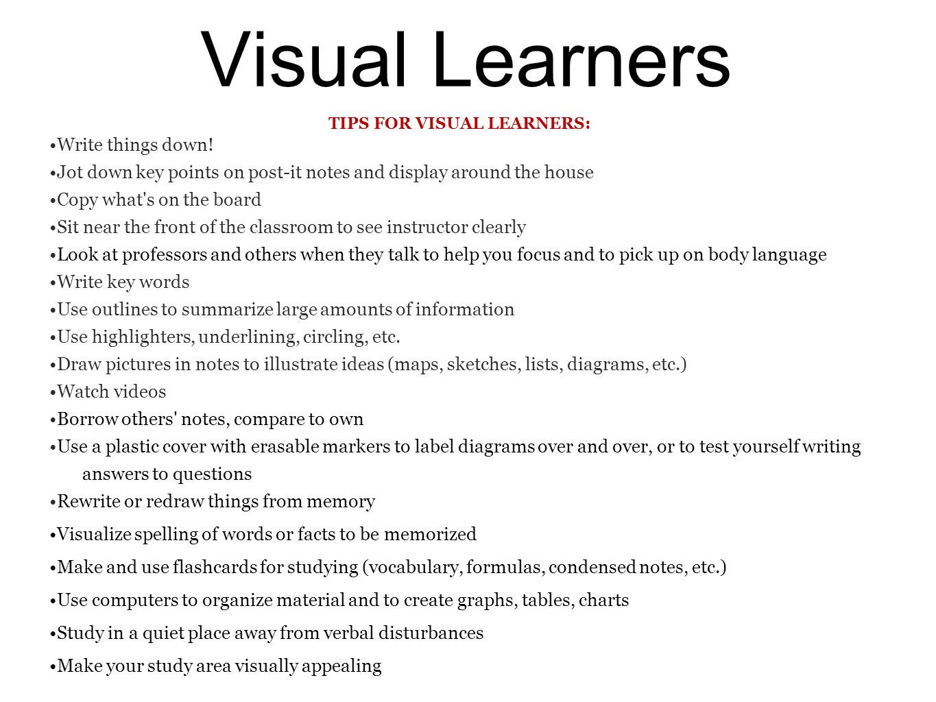 visual learning style essay Spanish: education and learning style essay textbook, online learning versus face-to-face classes, and any other factors that may contribute to making this course challenging for someone with your preferred ways of learning.