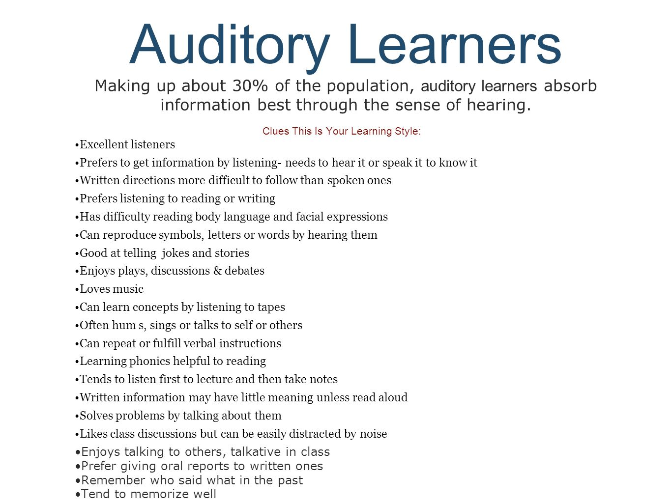 essay with auditory learning