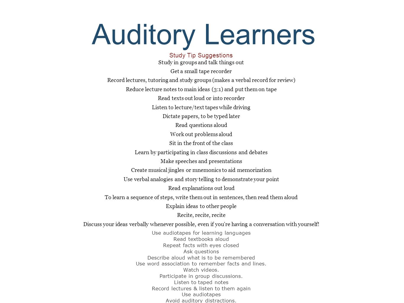essay on auditory learning style Paper title: the effect of visual, auditory, and kinaesthetic learning styles on language teaching abbas pourhossein gilakjani school of educational studies, usm.