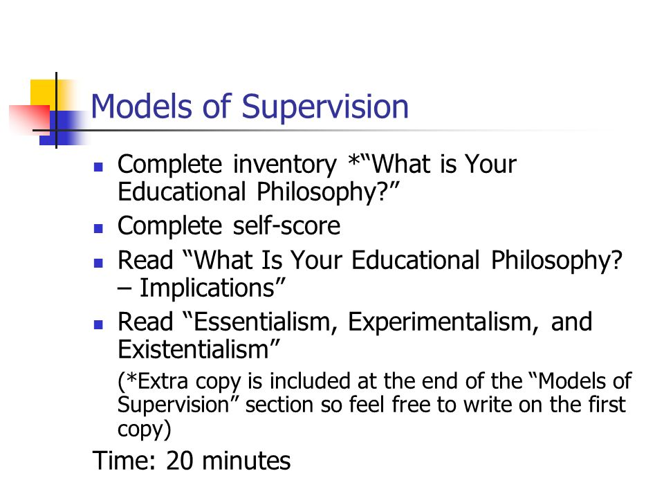 Theories and Models of Supervision