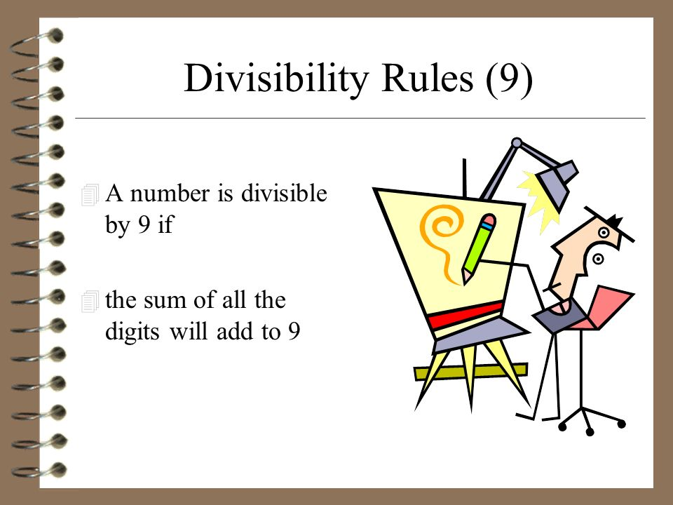 Divisibility Rules (9) A number is divisible by 9 if