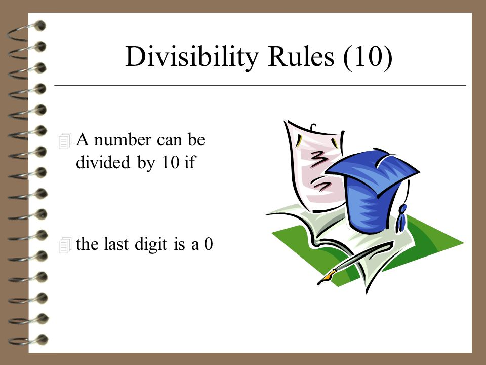 Divisibility Rules (10) A number can be divided by 10 if