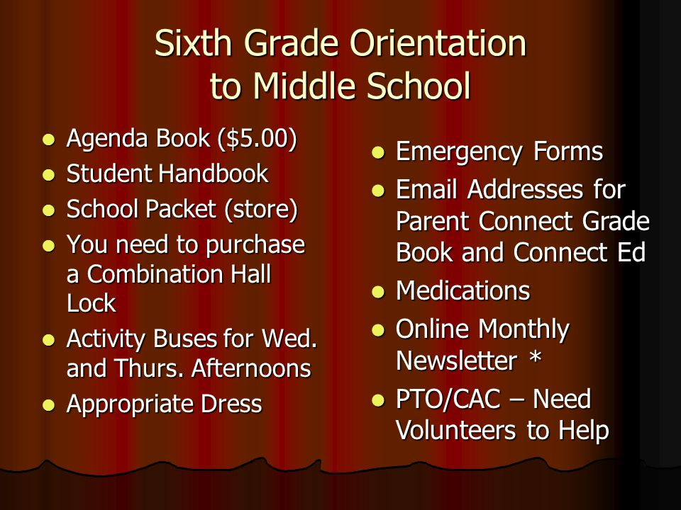 Sixth Grade Orientation to Middle School