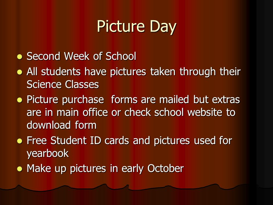 Picture Day Second Week of School