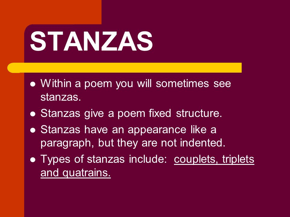 3 stanza 24 line poem The pantoum consists of a series of so the first line of the poem is also the last last stanza: line 2 of previous stanza line 3 of first stanza line 4 of.