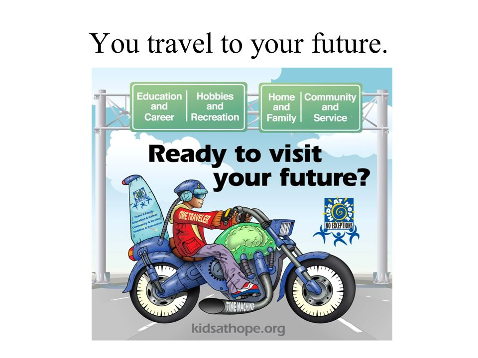 You travel to your future.