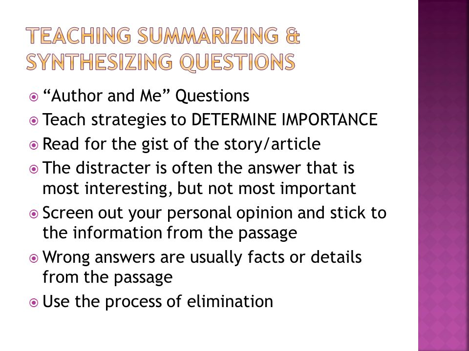 Teaching Summarizing & Synthesizing Questions