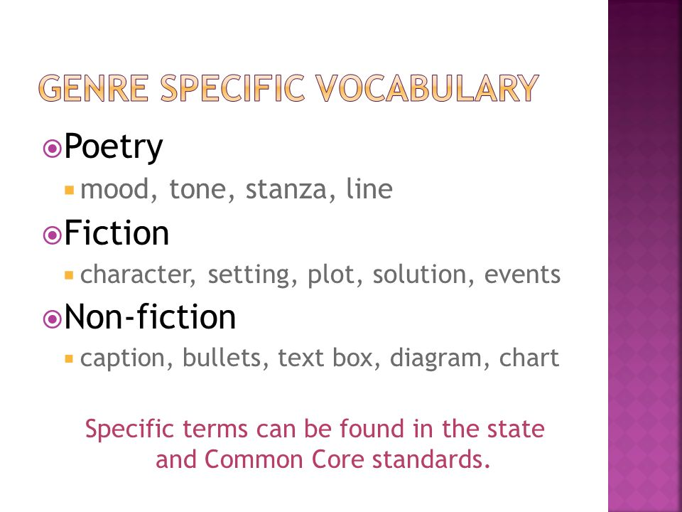 Genre Specific Vocabulary