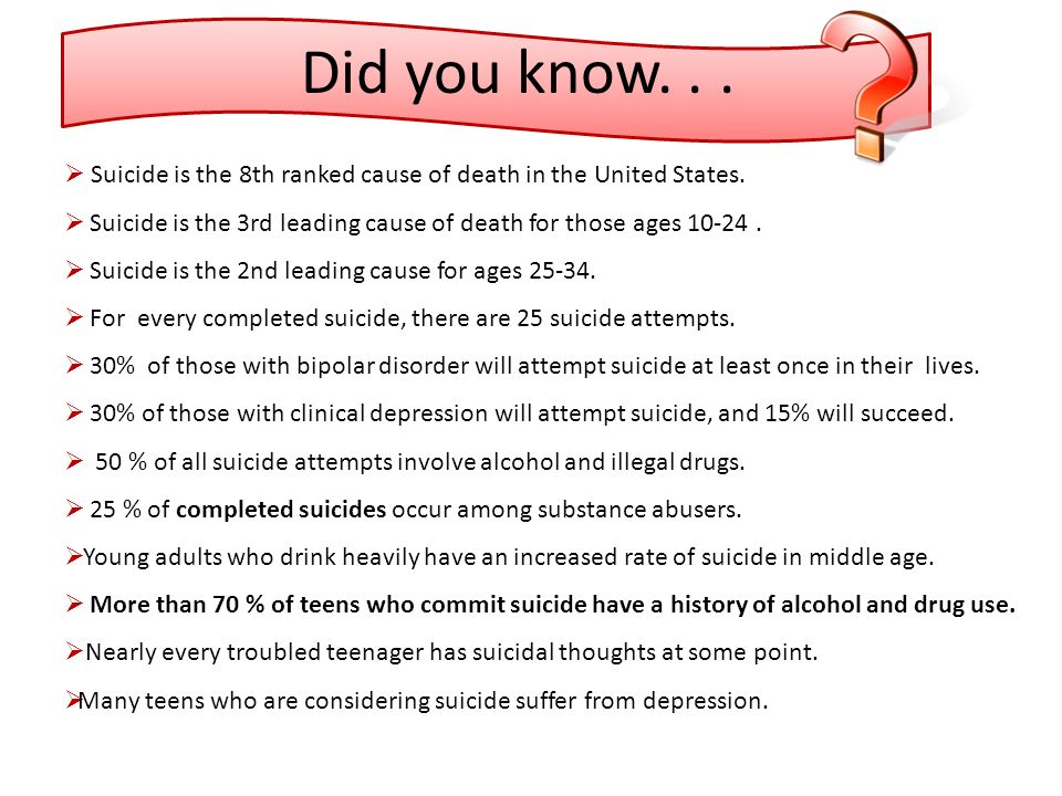 Did you know. . . Suicide is the 8th ranked cause of death in the United States. Suicide is the 3rd leading cause of death for those ages 10-24 .