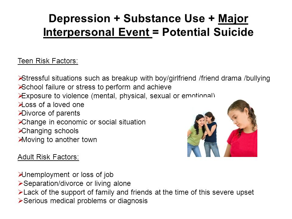 Depression + Substance Use + Major Interpersonal Event = Potential Suicide
