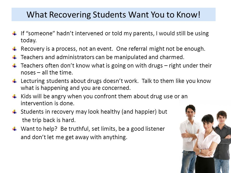What Recovering Students Want You to Know!