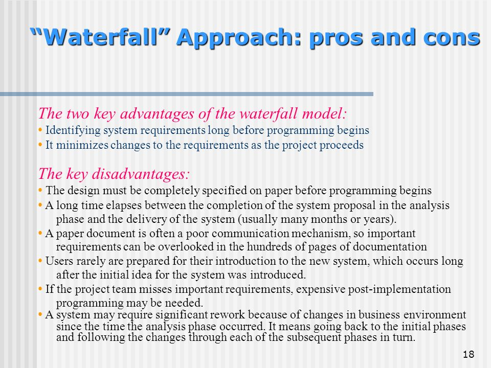 LECTURE 21: Approaches to System Development - ppt download | title | waterfall model pros and cons