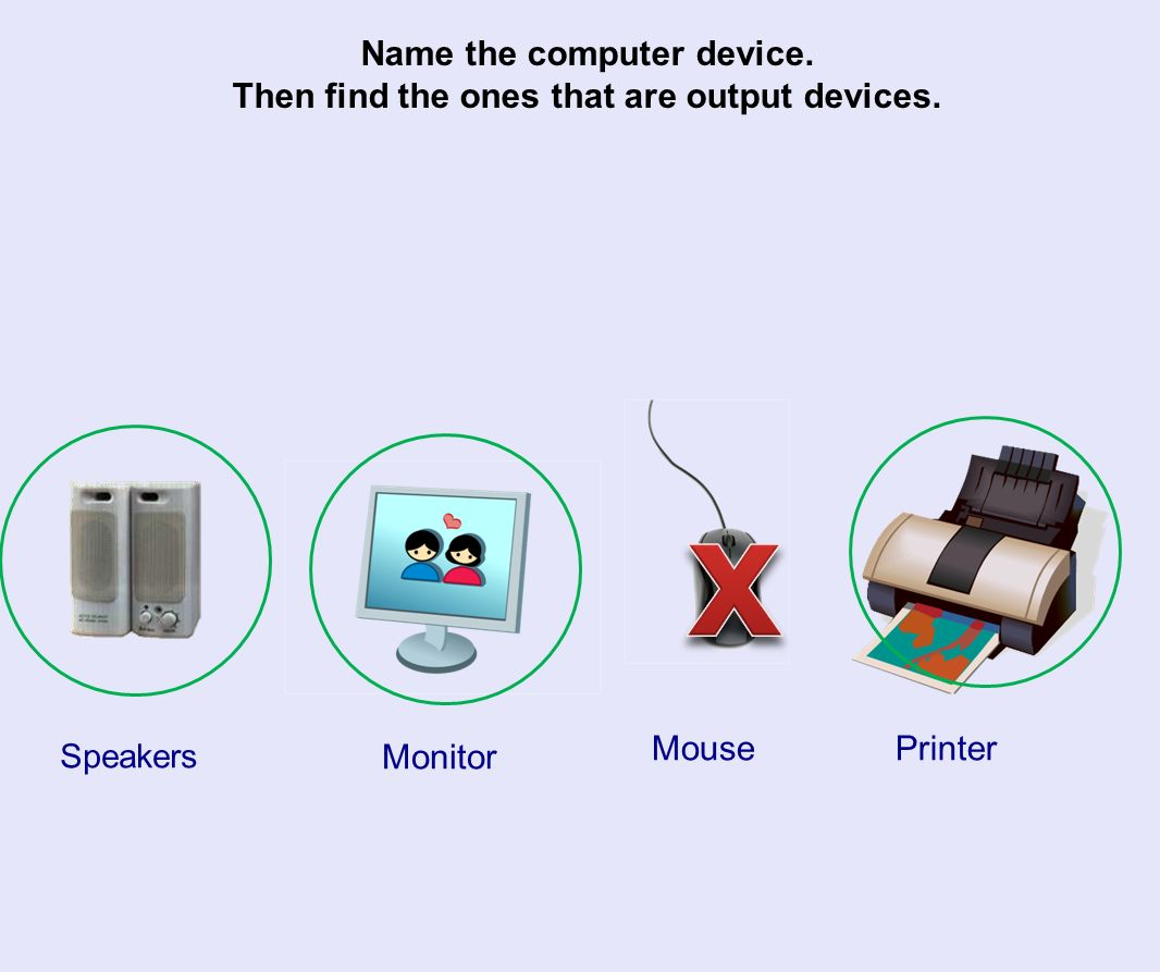 Name the computer device. Then find the ones that are output devices.