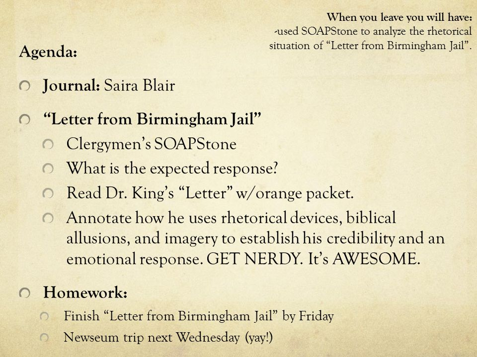 the rhetoric techniquesnd literary devices used in kings letter from a birmingham jail