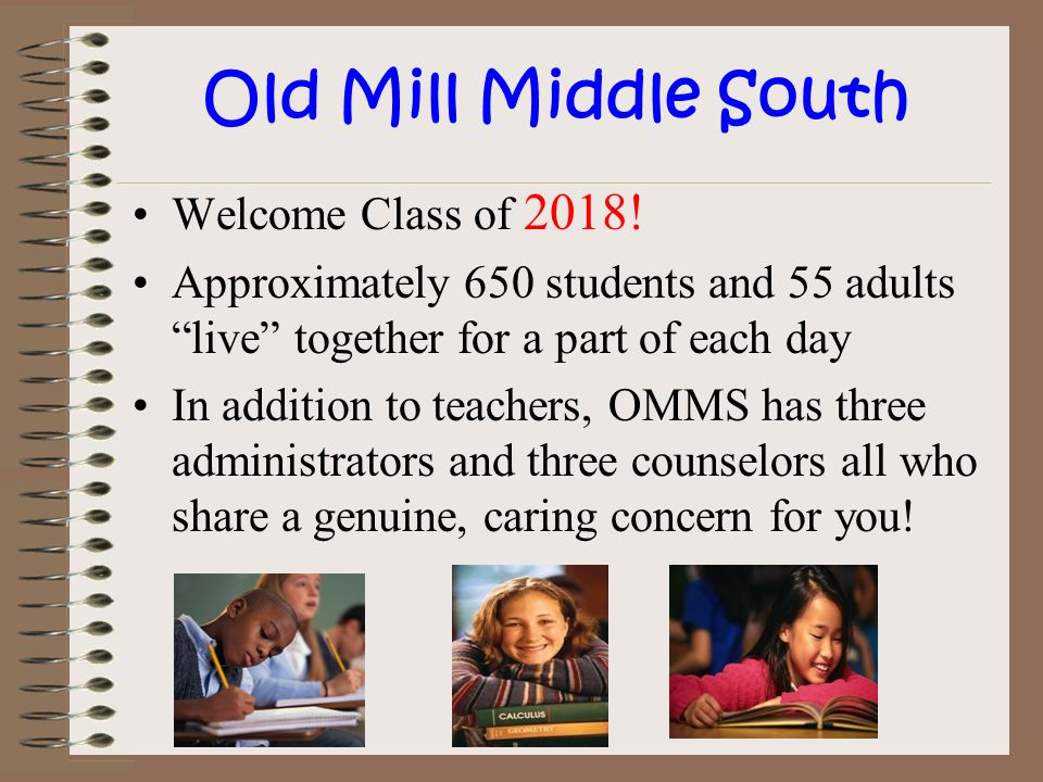 Old Mill Middle South Welcome Class of 2018!