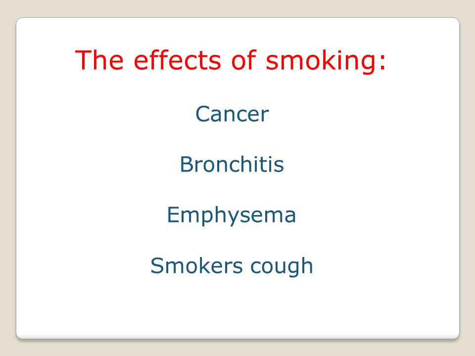The effects of smoking: