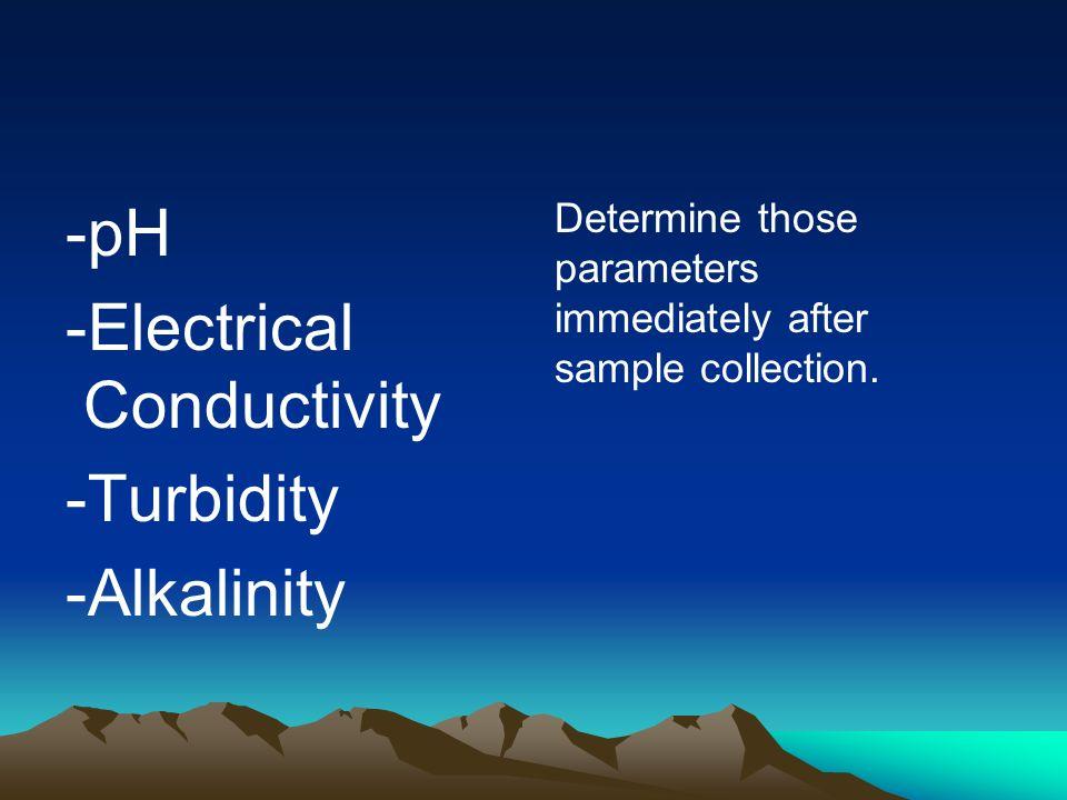 -Electrical Conductivity -Turbidity -Alkalinity