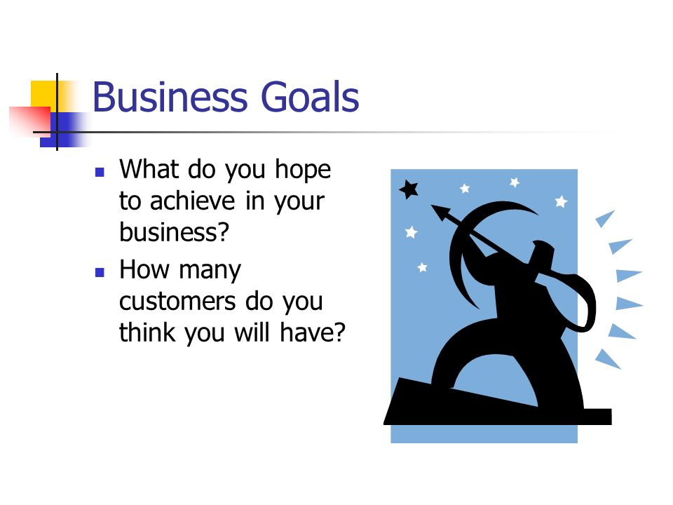 Business Goals What do you hope to achieve in your business