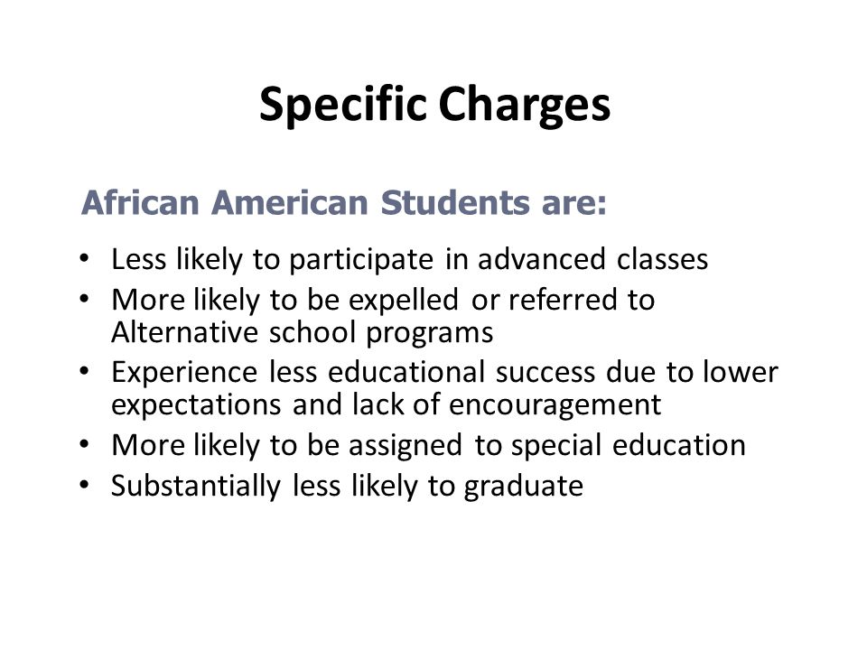 Specific Charges African American Students are: