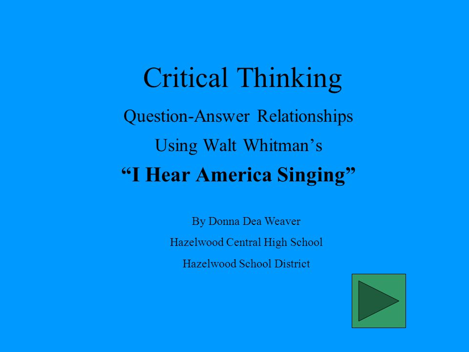 i hear america singing walt whitman essay Find essay examples compare and contrast i hear america singing and i, too the two works being discussed are i hear america singing by walt whitman and i.