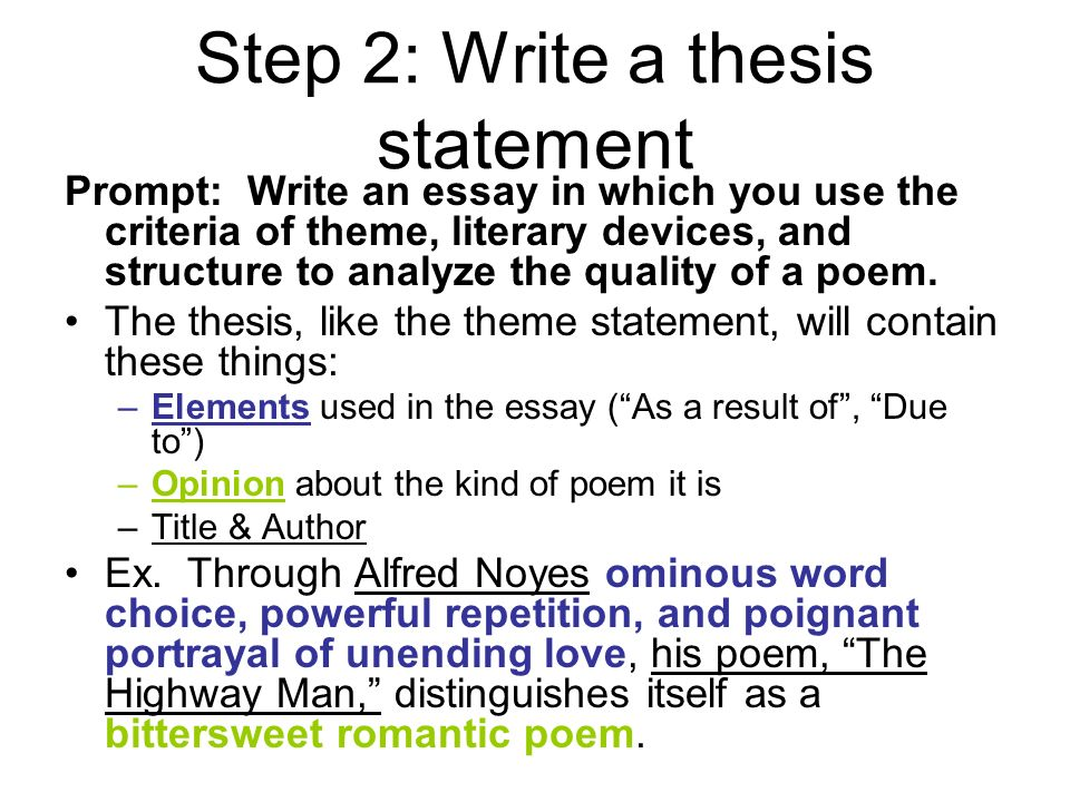 "help and example from ""the highwayman"" ppt video online  step 2 write a thesis statement"