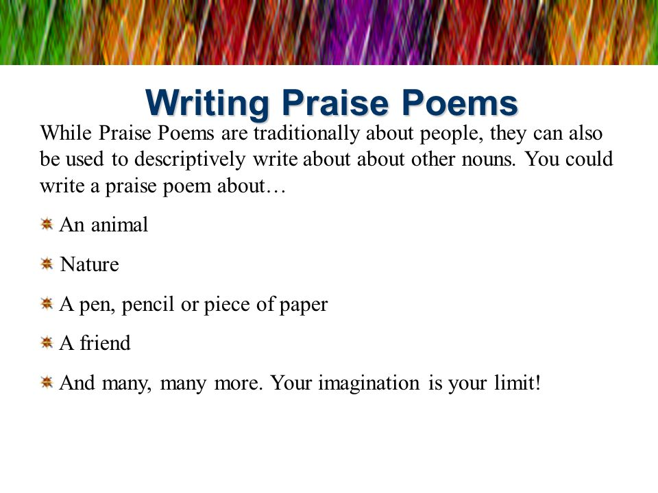 Writing Praise Poems