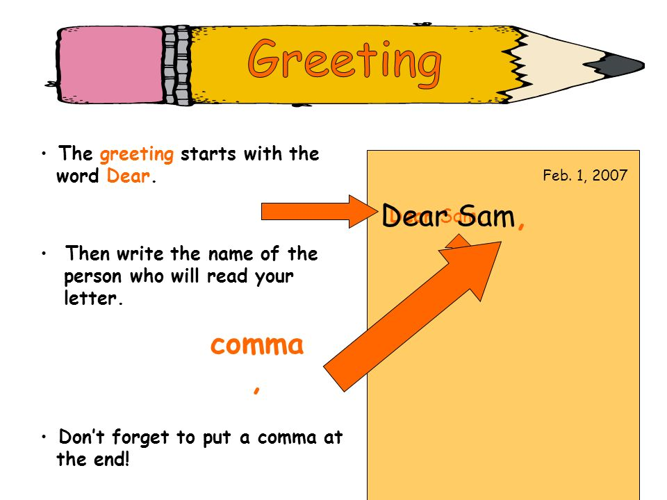 Greeting Dear Sam, comma , The greeting starts with the word Dear.