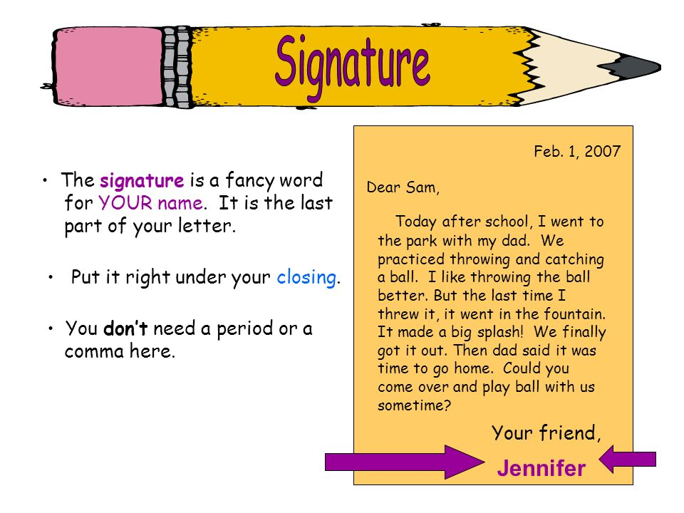 Signature Jennifer The signature is a fancy word