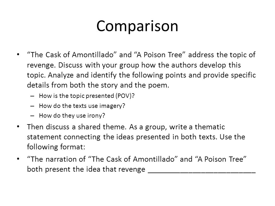 an analysis of the topic of a tale of revenge in the cask of the amontilado Reading group #36 (poe: 'the cask of amontillado,' 'ligeia,' 'the pit and the pendulum') gothic literature join librarything to post.