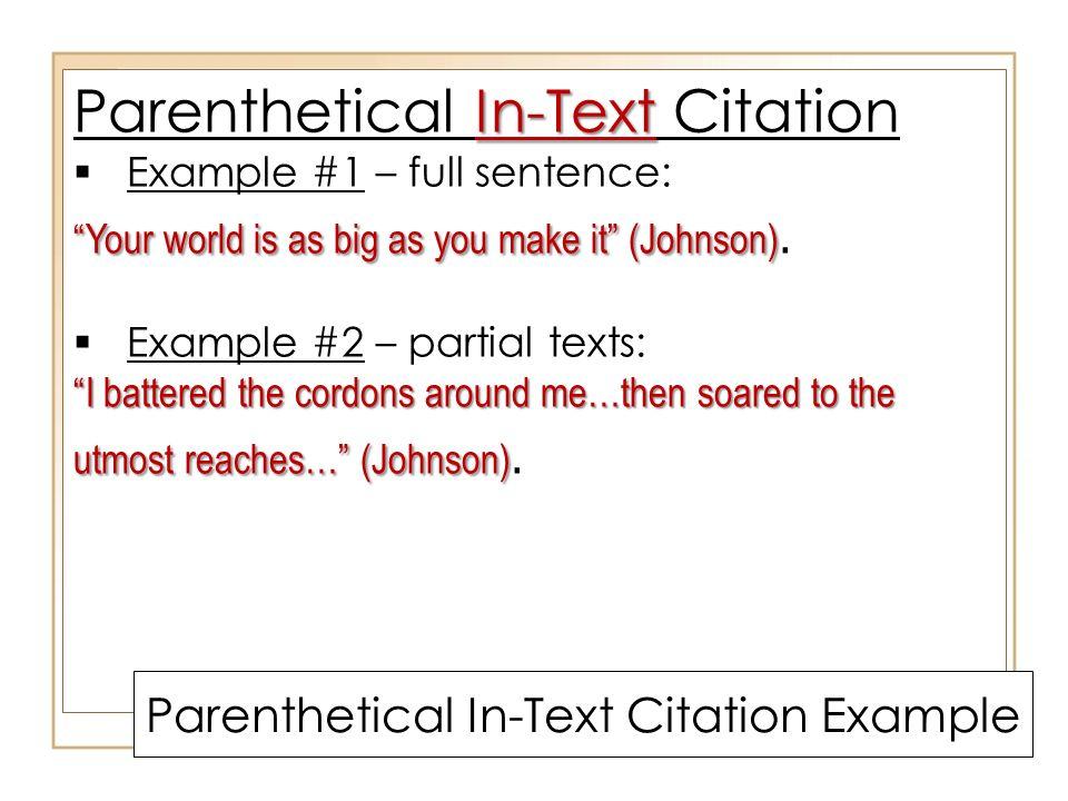writing a short response using mla parenthetical in
