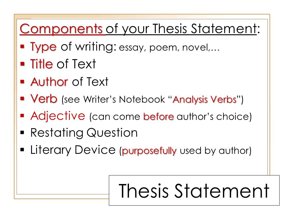 thesis statement for poems Drafting a thesis statement example thesis anne bradstreet, who spent most of her adult life as a resident of the massachusetts bay colony, wrote a poem that seems to be about her husband.