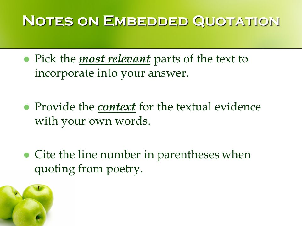 Embedding quotations into your writing answers in radians