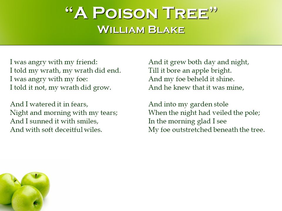 an analysis of the poem a poison tree by william blake A poison tree by william blake can be interpreted to be a metaphor that explains a truth of human nature i believe that this poem teaches how anger can be dismissed by kindness and friendliness, and nurtured to become a deadly 'poison.