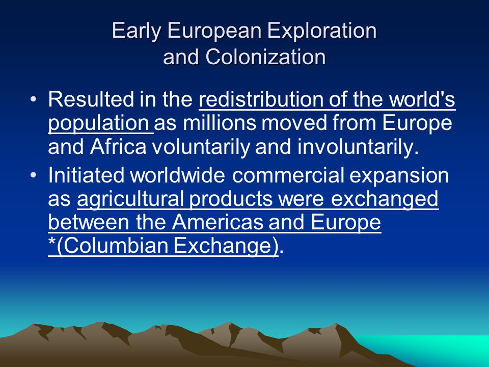 american history exploration and colonization Chapter 3: european exploration and colonization the effect of european diseases on native american populations - made the native americans ill and weak.