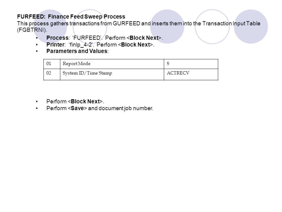 Process: 'FURFEED'. Perform <Block Next>.