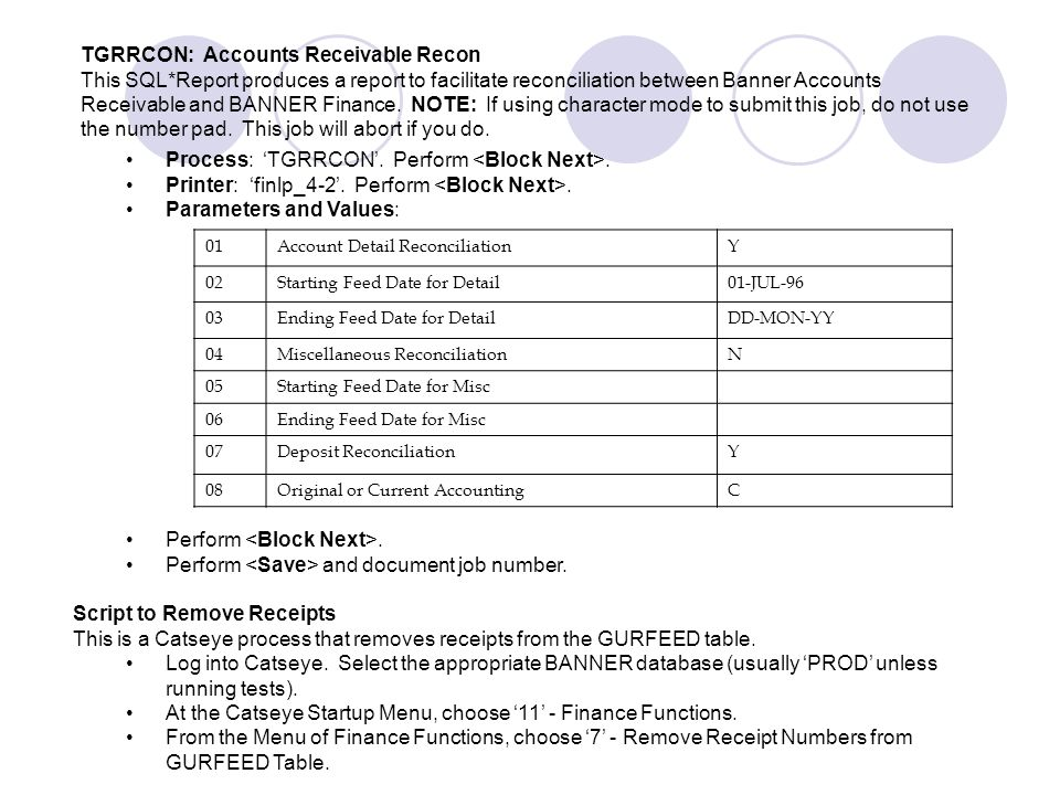 Process: 'TGRRCON'. Perform <Block Next>.