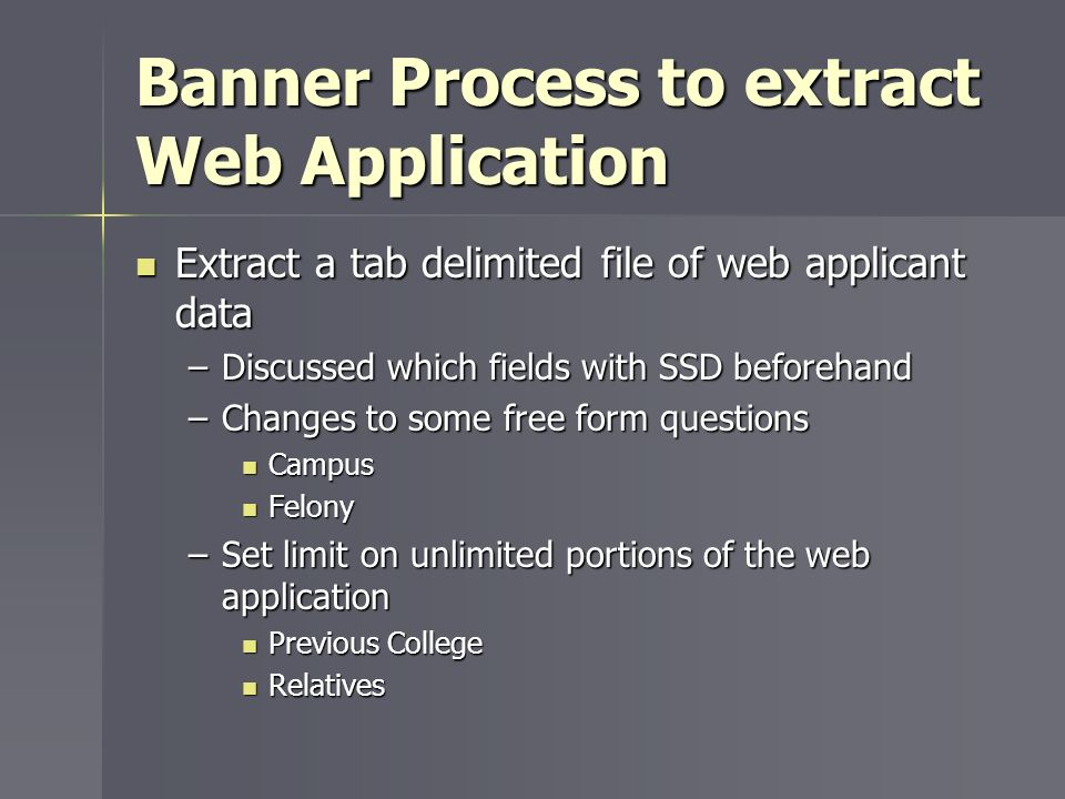 Banner Process to extract Web Application