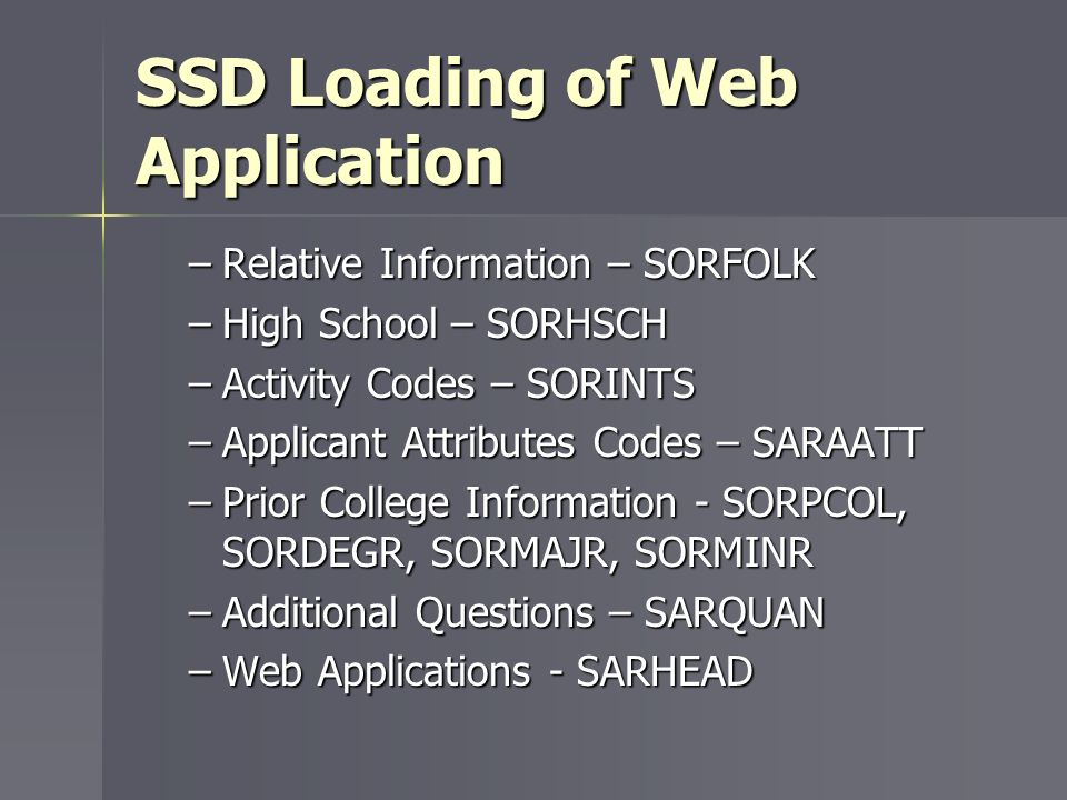 SSD Loading of Web Application