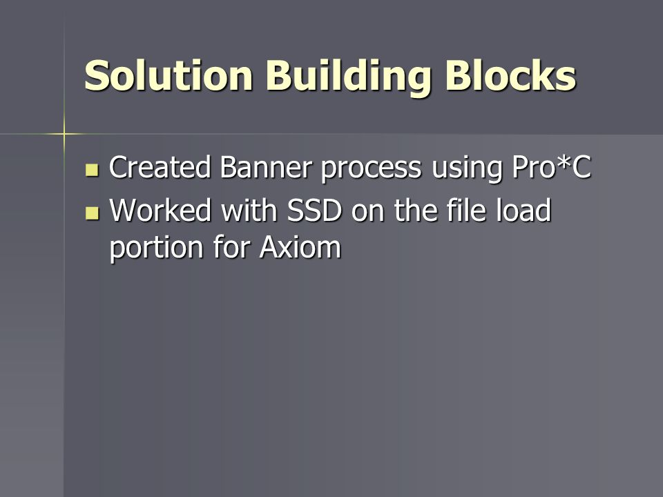 Solution Building Blocks