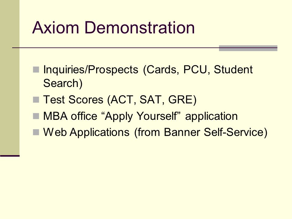 Axiom Demonstration Inquiries/Prospects (Cards, PCU, Student Search)