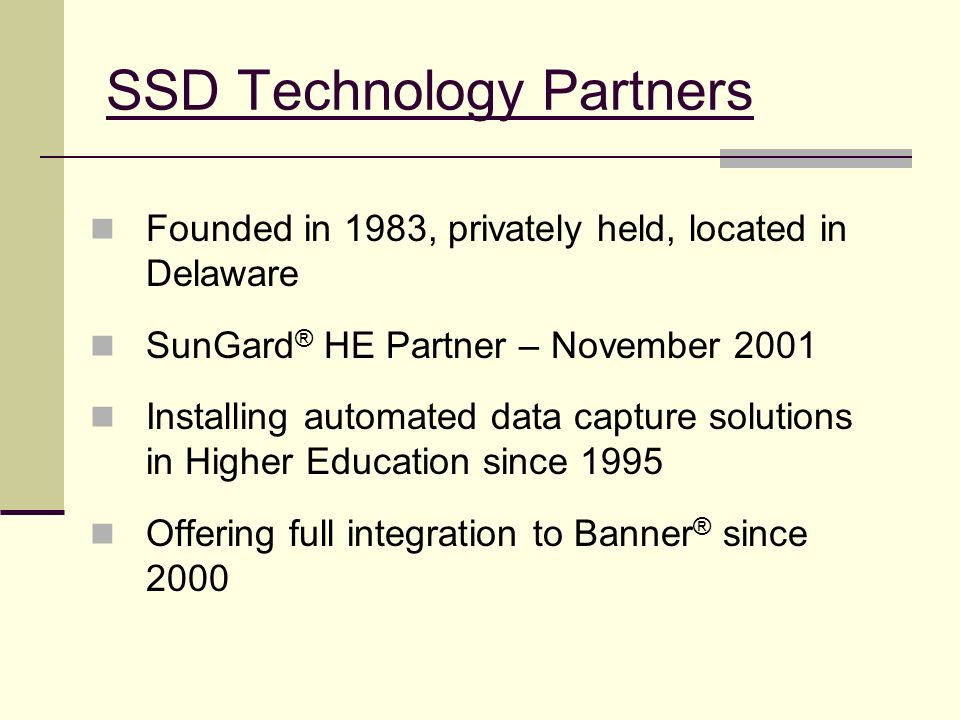 SSD Technology Partners