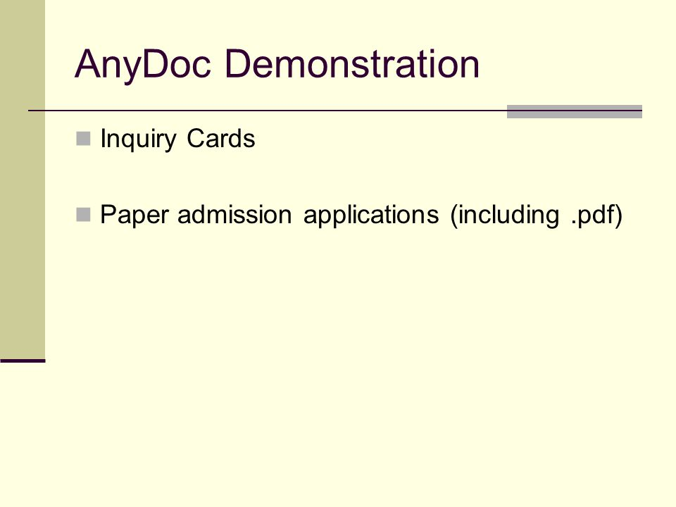 AnyDoc Demonstration Inquiry Cards